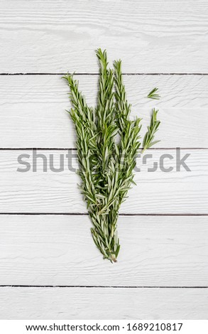 Picture with rosemary as spice at white wood background. Concept of ingredient of food. Summer picture of kitchen herbs