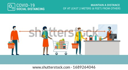 Social distancing and coronavirus covid-19 prevention: maintain a safe distance from others at the supermarket #1689264046