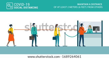 Social distancing and coronavirus covid-19 prevention: maintain a safe distance from others in public offices and banks Royalty-Free Stock Photo #1689264061