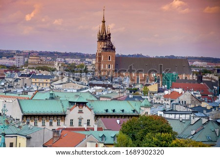 A Beautiful City View Of Kraków In Poland. Kraków Is The Second Largest And One Of The Oldest Cities In Poland As Well Kraków Was The Official Capital Of Poland Until 1596 #1689302320