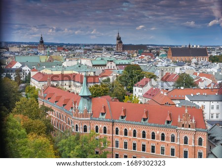 A Beautiful City View Of Kraków In Poland. Kraków Is The Second Largest And One Of The Oldest Cities In Poland As Well Kraków Was The Official Capital Of Poland Until 1596 #1689302323