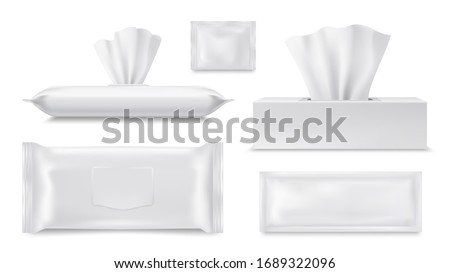 Wet wipes pouch and paper tissue or napkin box, vector realistic packages, blank 3D templates. Paper towel and antibacterial wet wipes disposable sachet, hygiene cosmetics and personal care objects #1689322096
