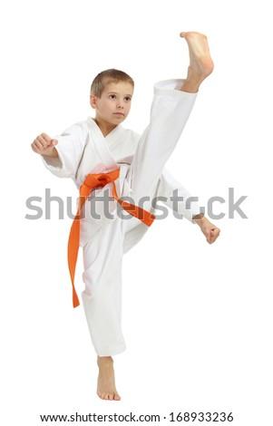 Direct kick foot beat the sportsman in a kimono #168933236