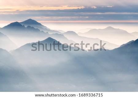 Brescia prelati misty morning, Brescia province, Lombardy, Italy.