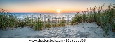 Sunset at the dune beach Royalty-Free Stock Photo #1689385858