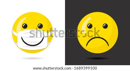 Happy Smiling Face Protected with Mask Having Wide Smile over It and Sad Unprotected Face Coronavirus Pandemy Devoted Concept - Yellow on Black and White Background - Vector Mixed Graphic Design #1689399100