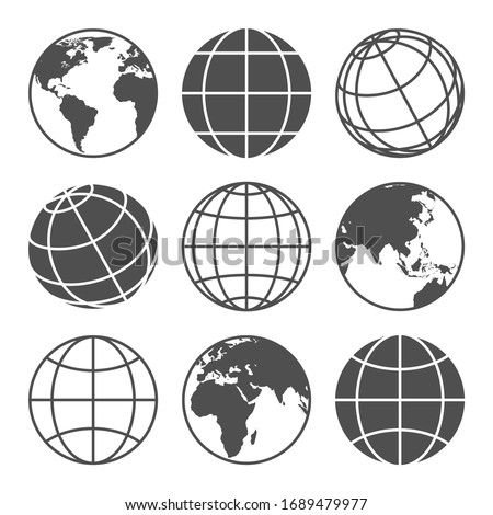 Planet map globe icons. Vector earth symbols, world globus pictograms, traveler wide geography symbol or eco space explore icon set