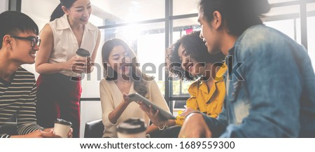 Asian business employee team brainstorming and workshop at meeting room modern workplace.Happy asia creative teamwork group thinking and working together with startup project.Workshop together concept Royalty-Free Stock Photo #1689559300