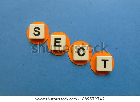 Sect, word cube with background. #1689579742