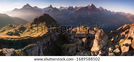Summer holiday season. Sunrise view on Bernese range above Bachalpsee lake. Highest peaks Eiger, Jungfrau and Schreckhorn in famous location. Switzerland alps, Grindelwald valley. Travel background Royalty-Free Stock Photo #1689588502