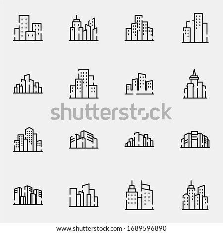 City, town, building icon set. Simple downtown, skyscraper, metropolis outline icon sign concept. vector illustration.  Royalty-Free Stock Photo #1689596890