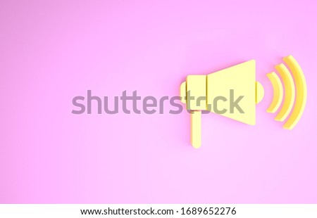 Yellow Megaphone icon isolated on pink background. Loud speach alert concept. Bullhorn for Mouthpiece scream promotion. Minimalism concept. 3d illustration 3D render #1689652276