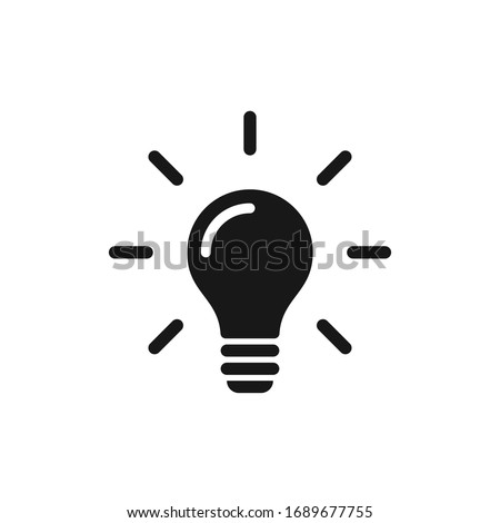 Light bulb icon with rays emanating from it Royalty-Free Stock Photo #1689677755