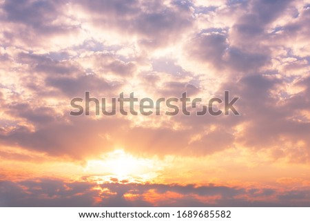 Colorful sky with clouds and sun in twilight time in the morning. Sunrise sky background. #1689685582