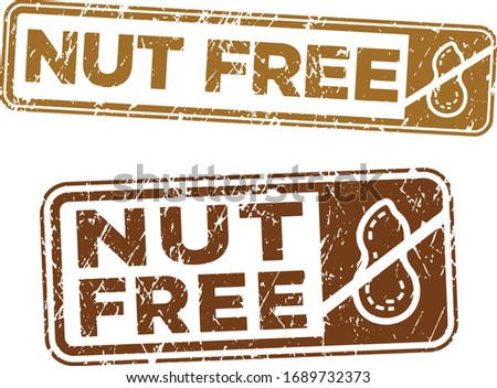 Nut Free stamps. Vector file. Grunge texture.