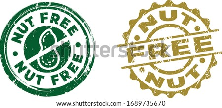 Nut Free stamps. Circle shape. Vector file. Grunge texture.