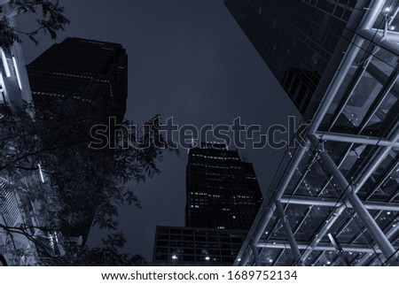 Skyscrapers in Chicago, night picture.