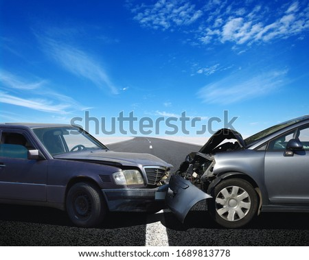 Car crash accident on street, damaged automobiles after collision  #1689813778