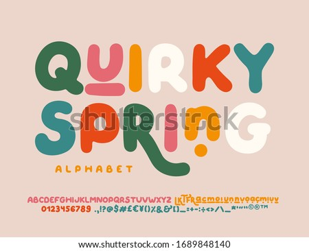 QUIRKY SPRING is uneven, unexpected, playful font. Vector bold font for headings, flyer, greeting cards, product packaging, book cover, printed quotes, logotype, apparel design, album covers, etc. #1689848140