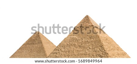 Part of Giza pyramid complex, also called the Giza Necropolis, isolated on white background. Greater Cairo, Egypt. #1689849964