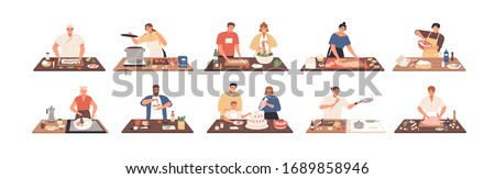 Smiling people cooking on kitchen table set vector flat illustration. Collection of various cartoon man, woman, couple and family preparing food isolated on white. Colorful person meal preparation #1689858946