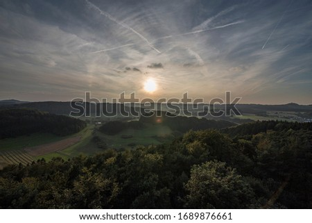 360 degree wide view on a german low mountain range Royalty-Free Stock Photo #1689876661
