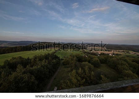360 degree wide view on a german low mountain range Royalty-Free Stock Photo #1689876664
