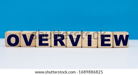 concept word OVERVIEW on cubes on a blue background Royalty-Free Stock Photo #1689886825