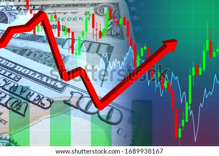 Rebound after the collapse of the economy. Financial charts. Charts symbolize fluctuations in the economy. Chart on the background of the dollar. Rebound after the collapse of the financial sector #1689938167