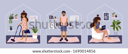 Stay or work from home. Girl doing housework, working on laptop. Man does exercise. Gym, sport, fitness training at home. Stay positive and healthy. Isolation, coronavirus quarantine. Illustration set #1690014856