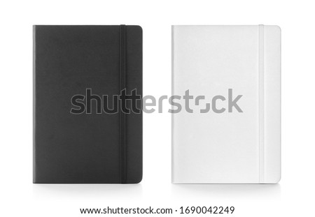 Black & white colour leather fabric hardcover notebook with elastic band. Front view with notebook closed. Isolated on white background. For mockup, branding, advertising & e-commerce Royalty-Free Stock Photo #1690042249