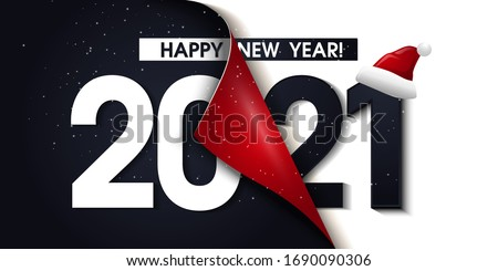 2021 Happy New Year Black Promotion Poster or banner with open gift wrap paper. Change or open to new year 2021 concept.Promotion and shopping template for New Year.Vector EPS10 #1690090306