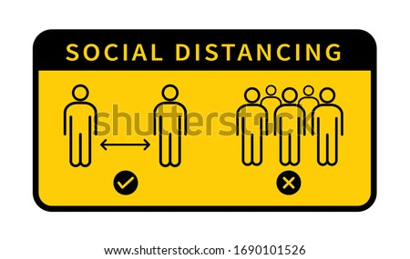 Social distancing. Keep the 1-2 meter distance. Coronovirus epidemic protective. Vector illustration #1690101526