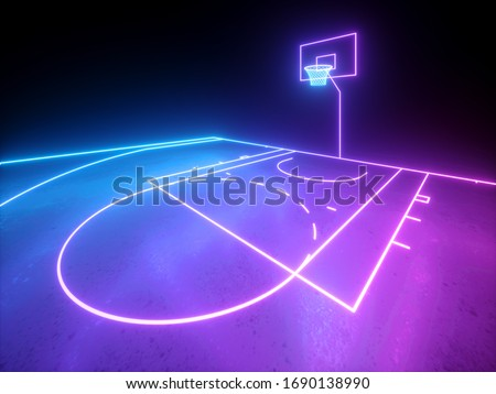 3d render, violet blue glowing neon light, part of the basketball virtual playground, sport field scheme, sportive game. Isolated on black background.