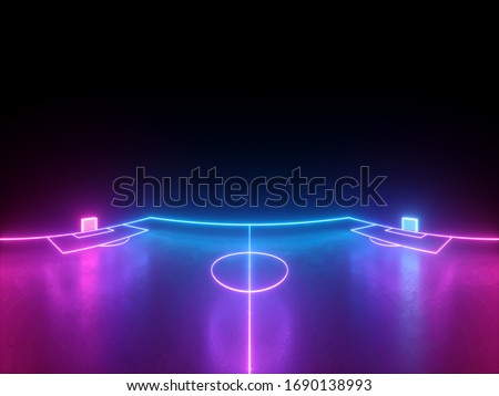 3d render, neon soccer field scheme wide screen side view, virtual sport playground, football sportive game, pink violet blue glowing line. Isolated on black background.