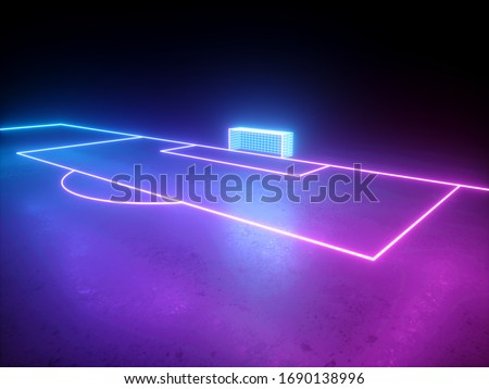 3d render, neon soccer field gate perspective angle view, football playground, virtual sportive game, pink blue glowing line
