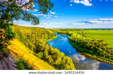Summer green valley river landscape. River valley panorama. River valley in summer. Summer river valley landscape #1690156456