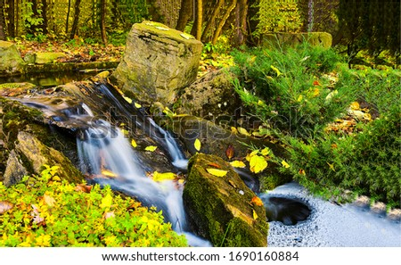 Autumn forest waterfall stream view. Forest waterfall creek in autumn. Autumn forest waterfall stream. Waterfall in autumn forest #1690160884