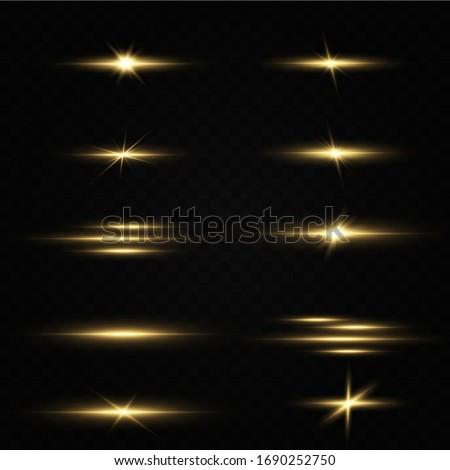 Shining golden stars isolated on black background. Effects, glare, lines, glitter, explosion, golden light. Vector illustration.Set.  #1690252750