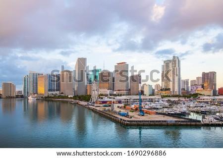 MIAMI, FL, USA - MARCH 31, 2020: Empty streets of Miami Downtown, Bayside, Port Miami, American Airlines Arena, landmarks. #1690296886