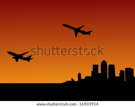 planes departing with London Docklands skyline at sunset JPG #16903954