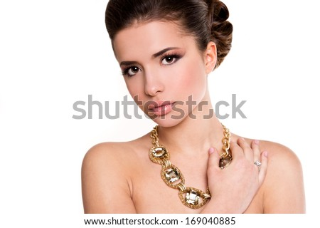 young beautiful woman with trendy make-up and hairstyle  #169040885