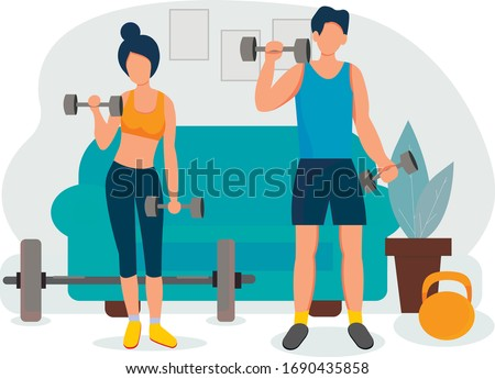 Sports at home. Happy family sporting events. A guy and a girl do a workout at home with dumbbells. Fitness training exercises, healthy lifestyle. Vector illustration in flat style. #1690435858