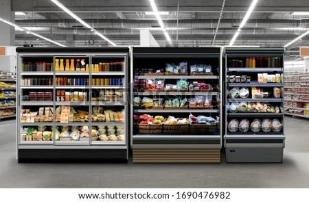Commercial refrigerators different types of fridges. Photo, mock-up, Planogram. Juice, coffee and yoghurt in bottles and cans. Fresh Vegetable, sandwiches, fruits in plastic bottles at supermarket.  #1690476982