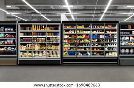 Refrigerators different types of supermarket fredges photo, mock-up, planogram. Suitable for presenting new products, interior design and retail design presentations. #1690489663