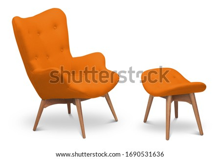 Orange bright color armchair and small chair for legs. Modern designer armchair on white background. Textile armchair and chair. Series of furniture #1690531636