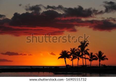 Sunset at the beach Hawaii, USA