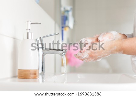 Hygiene concept. Woman washing hands close up. Hand hygiene for coronavirus outbreak.  #1690631386