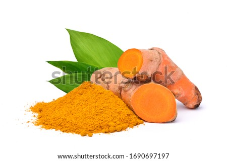 Turmeric (Curcuma longa Linn)  rhizome (root) sliced with Finely dry powder and green leaves isolated on white background. #1690697197