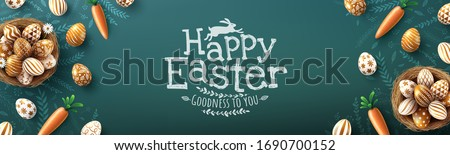 Easter poster and banner template with golden Easter eggs in the nest on blackboard.Greetings and presents for Easter Day in flat lay styling.Promotion and shopping template for Easter #1690700152